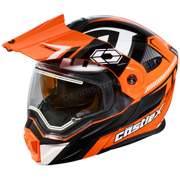 Castle X Flo Orange/Black EXO-CX950 Slash Snow Helmet w/Electric Shield - 45-29274