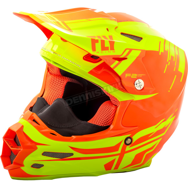 Fly Racing Hi-Vis/Orange F2 Carbon Forge Cold Weather Helmet - 73-4128-1-XS