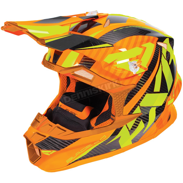 FXR Racing Orange/Hi-Vis Blade Carbon Throttle Helmet - 180604-3065-16