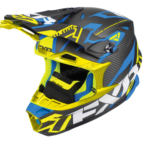 FXR Racing Black/Blue/Hi-Vis Blade Carbon Vertical Helmet - 180601-4065-16