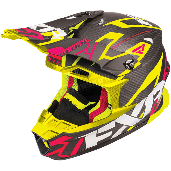 FXR Racing Black/Electric Pink/Hi-Vis Blade Carbon Vertical Helmet - 180601-9465-10