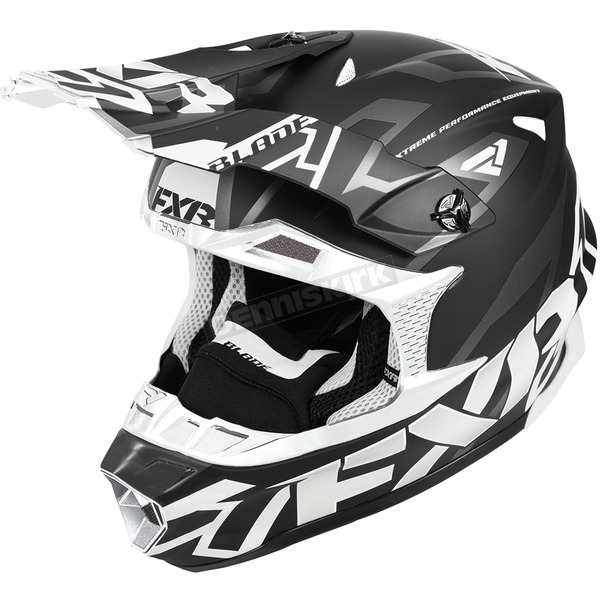 FXR Racing Black/White Blade Vertical Helmet - 180602-1001-22