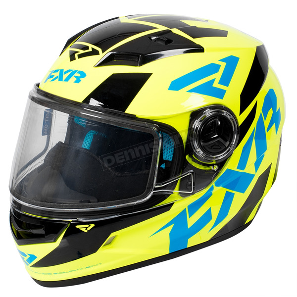 FXR Racing Youth Hi-Vis/Blue/Black Nitro Core Helmet - 170662-6540-13