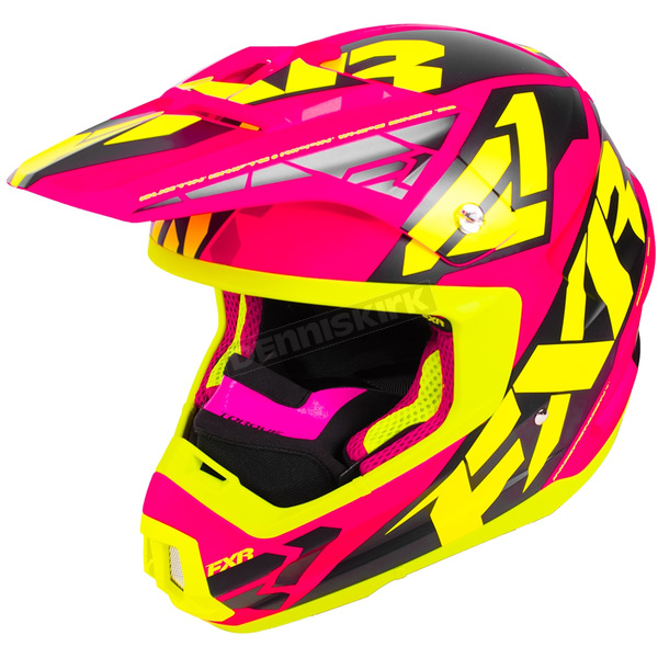 FXR Racing Electric Pink/Hi-Vis/Black Torque Core Helmet - 180621-9465-04