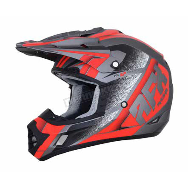 AFX Frost Grey/Red FX-17 Force Helmet - 0110-5206