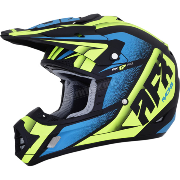 AFX Matte Black/Green/Blue FX-17 Force Helmet  - 0110-5214