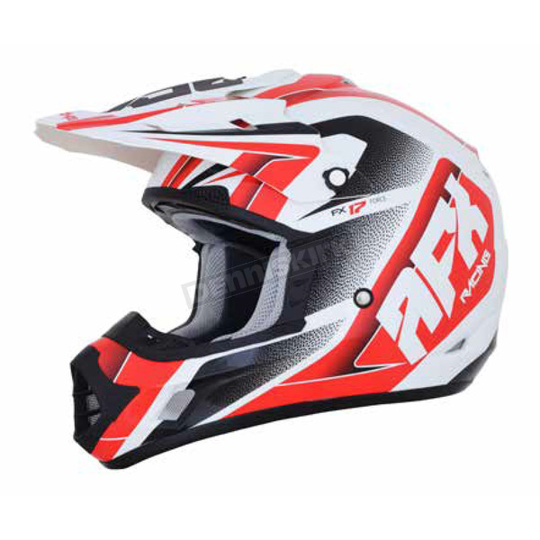 AFX Pearl White/Red FX-17 Force Helmet - 0110-5244
