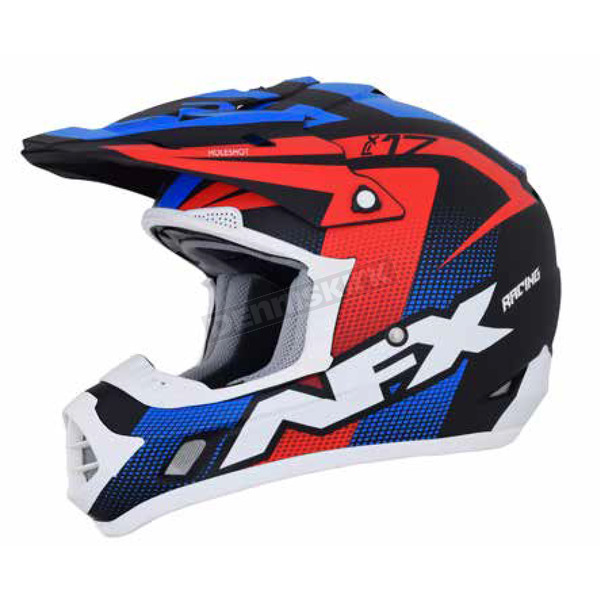AFX Matte Black/Red/White/Blue FX-17 Holeshot Helmet  - 0110-5283
