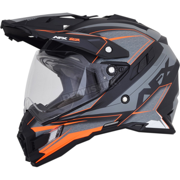 AFX Frost Grey/Neon Orange FX-41 DS Eiger Helmet - 0110-5357
