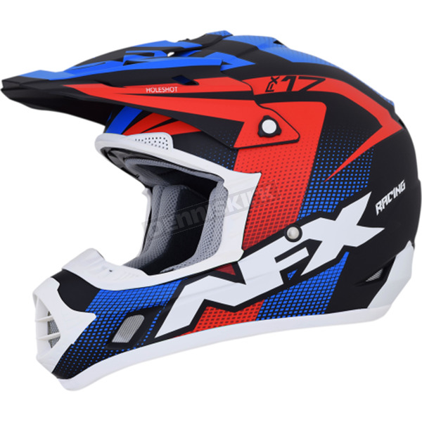 AFX Matte Black/Red/White/Blue FX-17Y Youth Holeshot Helmet - 0111-1097