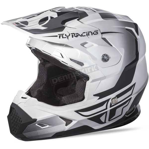 Fly Racing Youth Matte White/Black Toxin Helmet - 73-8510YS