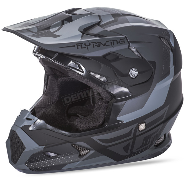 Fly Racing Matte Black/Gray Toxin Helmet - 73-8515M