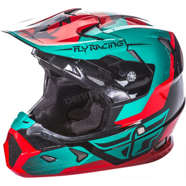Fly Racing Youth Red/Teal/Black Toxin Helmet - 73-8518YM