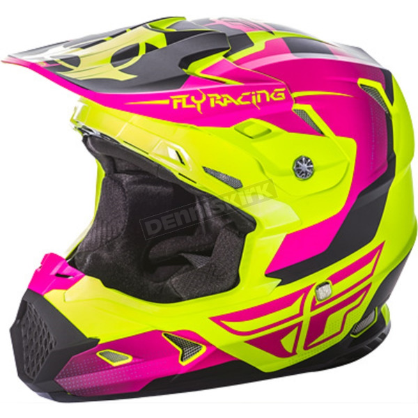 Fly Racing Youth Hi Vis/Pink Toxin Helmet - 73-8519YL