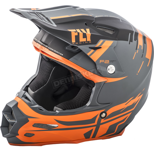 Fly Racing Charcoal/Orange F2 Carbon MIPS Forge Helmet - 73-4238XS