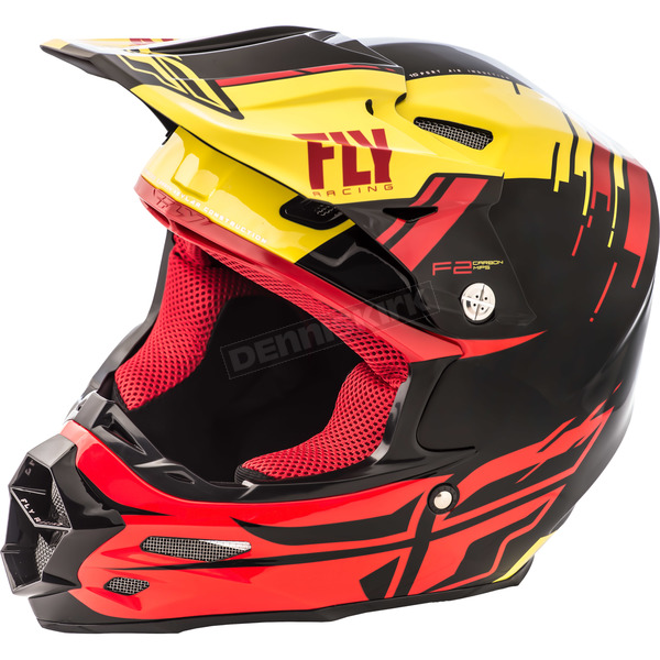 Fly Racing Yellow/Red/Black F2 Carbon MIPS Peick Replica Helmet - 73-4098S