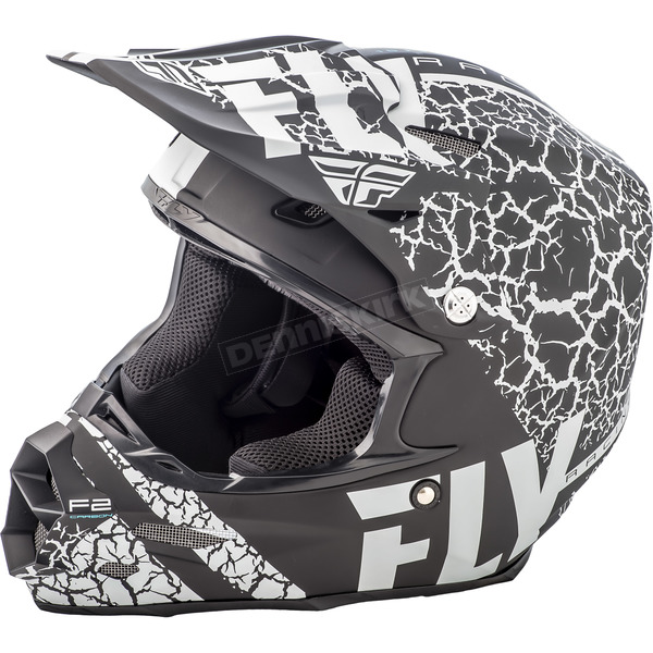 Fly Racing Matte Black/White F2 Carbon Fracture Helmet - 73-4171X