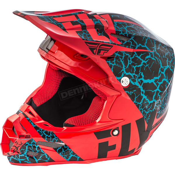 Fly Racing Black/Red/Lite Blue F2 Carbon Fracture Helmet - 73-4172S