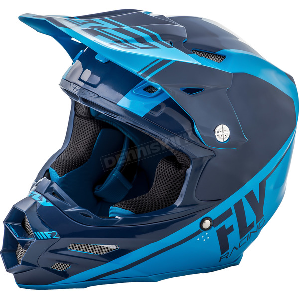 Fly Racing Navy Blue/Lite Blue F2 Carbon Rewire Helmet - 73-4163XS