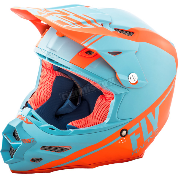 Fly Racing Matte Lite Blue/Orange F2 Carbon Rewire Helmet - 73-4168M