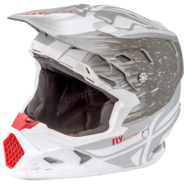 Fly Racing Matte White/Gray Toxin MIPS Resin Helmet - 73-8520L