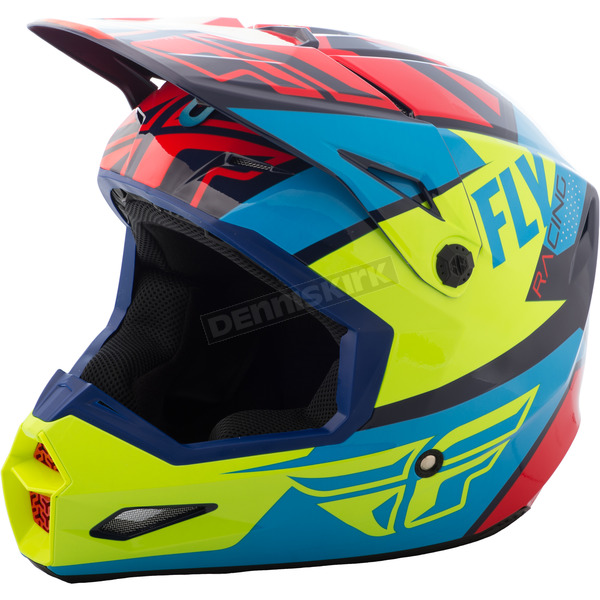 Fly Racing Youth Red/Blue/Hi-Vis Elite Guild Helmet - 73-8603YL