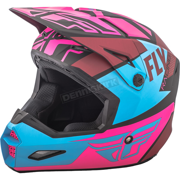 Fly Racing Matte Neon Pink/Blue/Black Elite Guild Helmet - 73-8609XS
