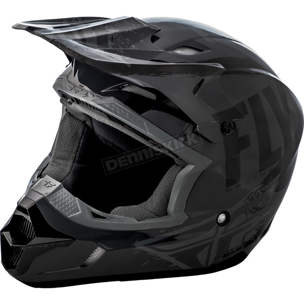 Fly Racing Gray/Black Kinetic Burnish Helmet - 73-3390M