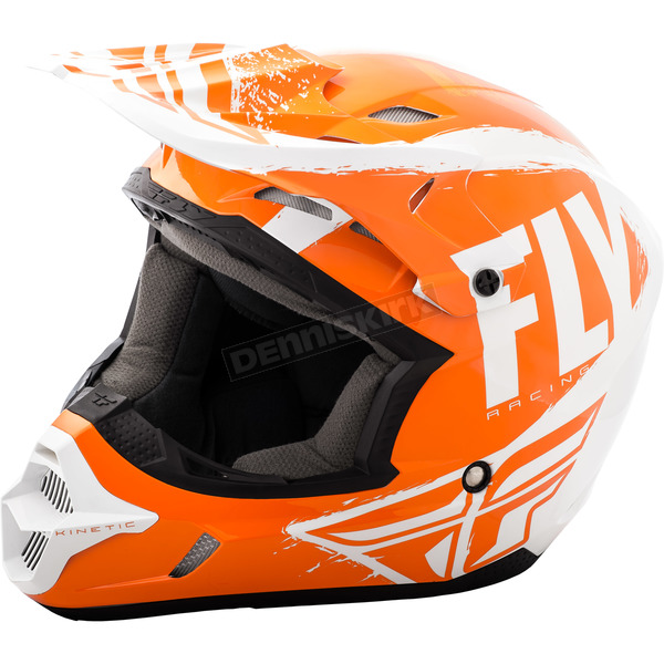 Fly Racing Youth Orange/White Kinetic Burnish Helmet - 73-3398YS