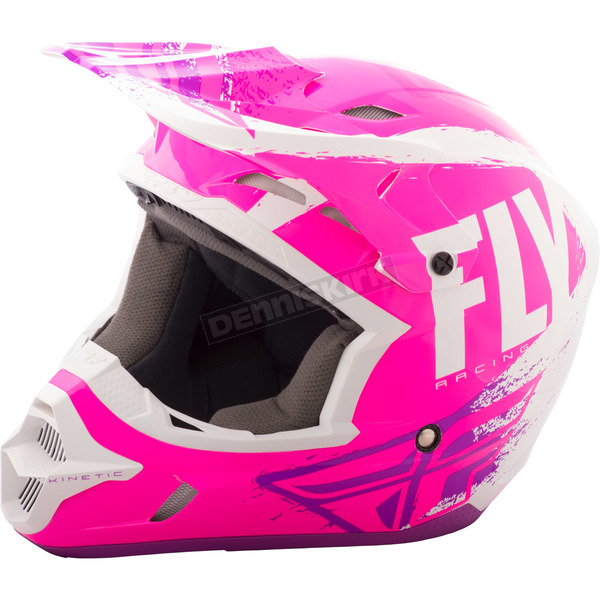 Fly Racing Neon Pink/White/Purple Kinetic Burnish Helmet - 73-33992X
