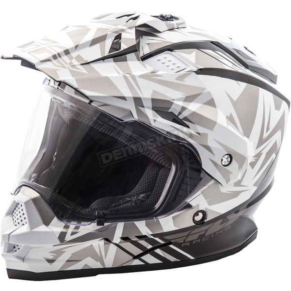 Fly Racing White/Gray Trekker Nova Helmet - 73-70162X