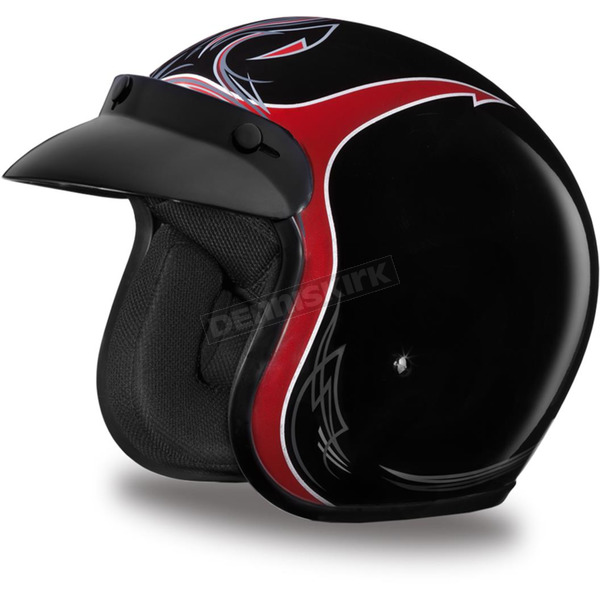 Daytona Pinned Black Cherry 3/4 Cruiser Helmet - DC6-PBC-S