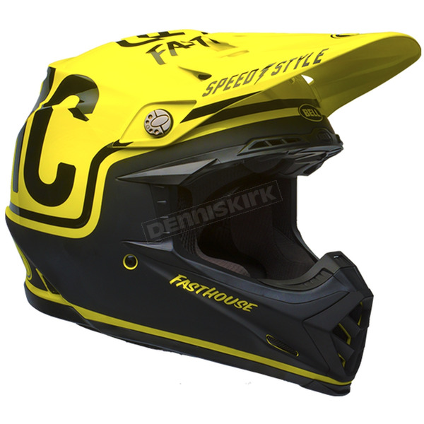 Bell Helmets Fluorescent Yellow/Black Moto-9 Fasthouse Limited Edition Helmet - 7086293
