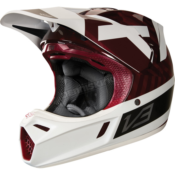 Fox Dark Red MVRS V3 Preest Helmet - 19521-208-L