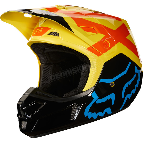 Fox Black/Yellow V2 Preme Helmet - 19527-019-S