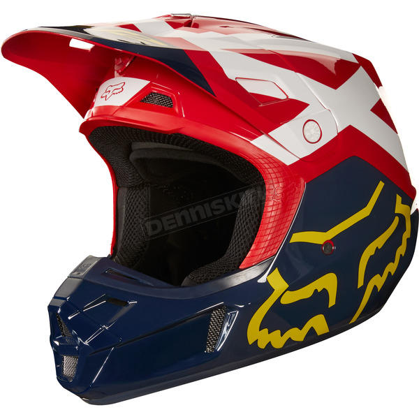 Fox Navy/Red V2 Preme Helmet - 19527-248-XL