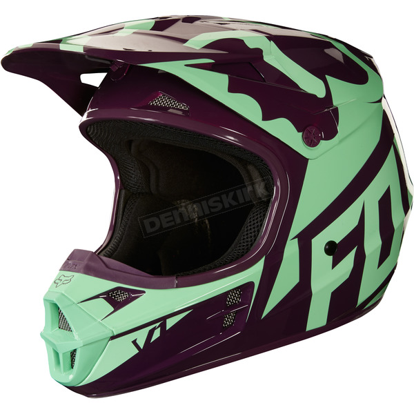 Fox Green V1 Race Helmet - 19531-004-L