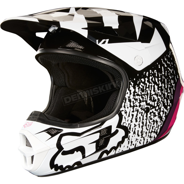 Fox Black/Pink V1 Halyn Helmet - 19535-285-L