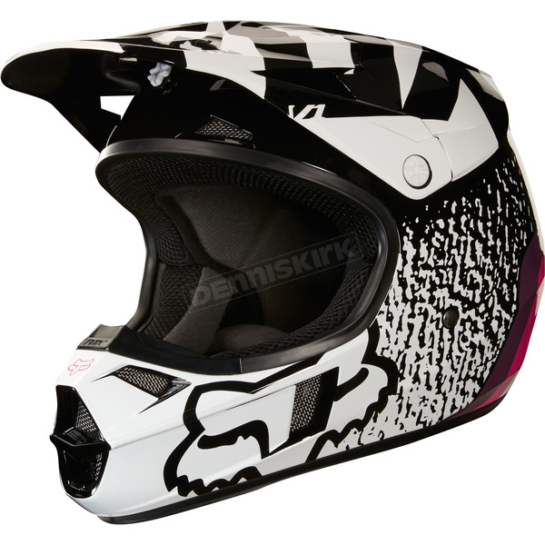 Fox Youth Black/Pink V1 Halyn Helmet - 19545-285-L
