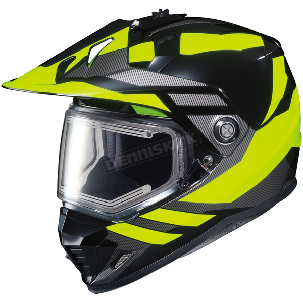 HJC Hi-Viz Neon/Black DS-X1 Lander MC-3HSnow Helmet w/Frameless Electric Shield - 013-934