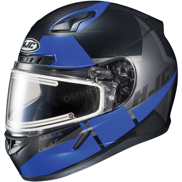 HJC Semi-Flat Black/Blue/Gray CL-17SN Boost MC-2SF Helmet w/Frameless Electric Shield - 153-727