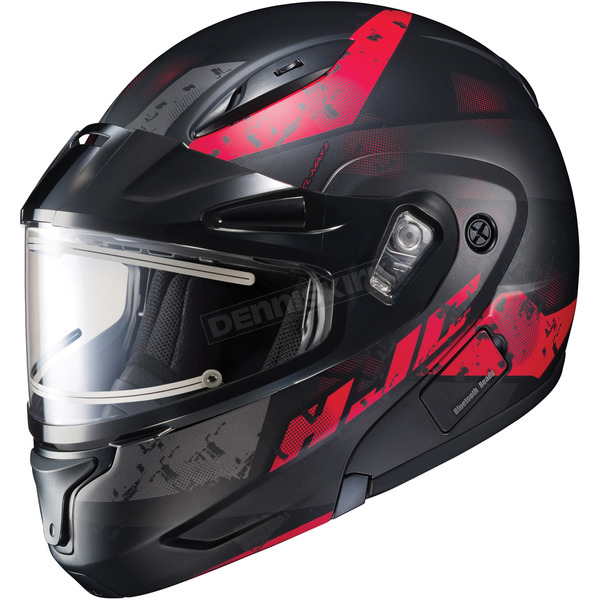 HJC Semi-Flat Black/Red CL-Max2SN Friction MC-1SF Helmet w/Framed Electric Shield - 197-714