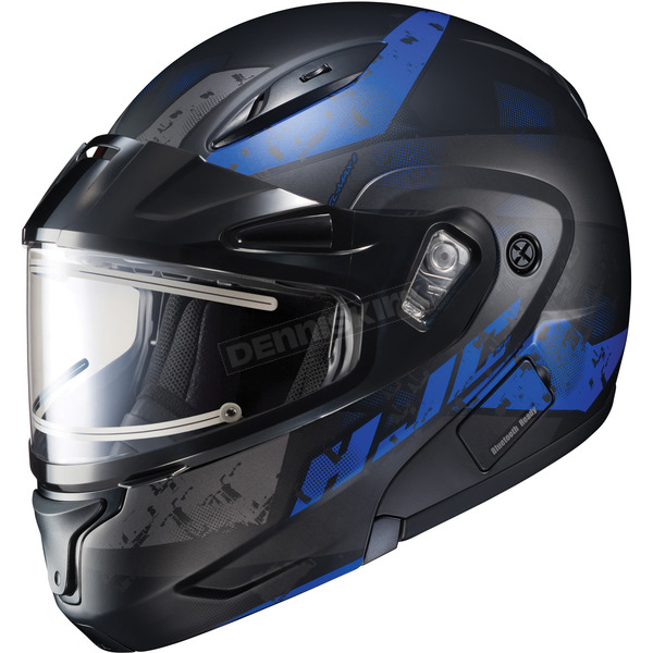 HJC Semi-Flat Black/BlueCL-Max2SN Friction MC-2SF Helmet w/Framed Electric Shield - 197-728