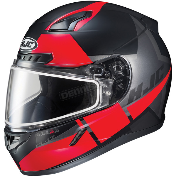 HJC Semi-Flat Black/Red CL-17SN Boost MC-1SF Helmet w/Frameless Dual Lens Shield - 853-713