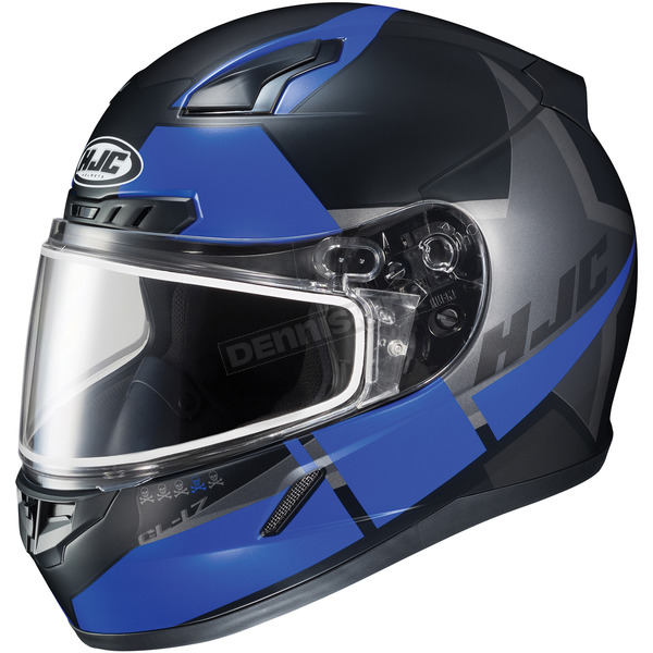 HJC Semi-Flat Black/Blue CL-17SN Boost MC-2SF Helmet w/Frameless Dual Lens Shield - 853-724