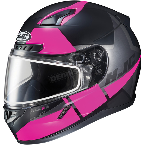 HJC Semi-Flat Black/Pink CL-17SN Boost MC-8SF Helmet w/Frameless Dual Lens Shield - 853-784