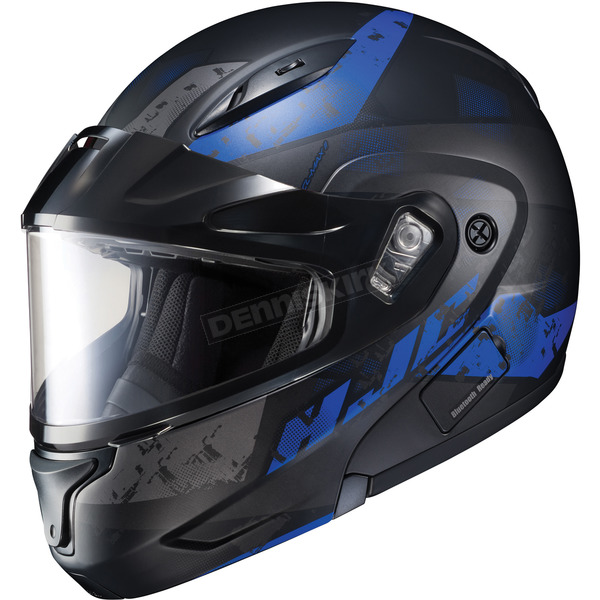 HJC Semi-Flat Black/Blue CL-Max2 Friction MC-21SF Helmet w/Framed Dual Lens Shield - 997-721
