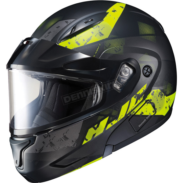 HJC Semi-Flat Black/Hi-Viz CL-Max2 Friction MC-3HSF Helmet w/Framed Dual Lens Shield - 997-735