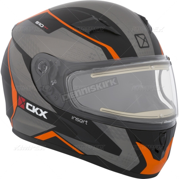 CKX Matte Black/Gray/Orange RR610 Insert Snow Helmet w/Electric Shield - 503416#