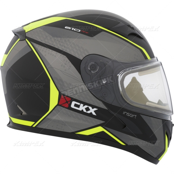 CKX Matte Black/Gray/Yellow RR610 Insert Snow Helmet w/Electric Shield - 503424#